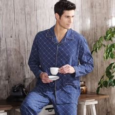 aaffe09f57 2016 Men's Pajamas Autumn Long Sleeve Pyjamas Sleepwear Cotton Plaid Men  Pijama Male Lounge Pajama Sets