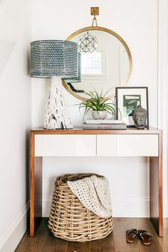 styling console table furniture rustic contemporary texture natural neutral ivory entry foyer hallway