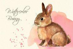 Watercolor bunny clip art  by Drumla on @creativemarket