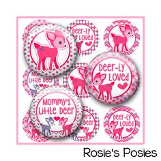 Valentine Bottle Cap Image Sheet Valentines Mommy's Little Deer. Hair Bow center, key chain image, jewelry, badge reel images.