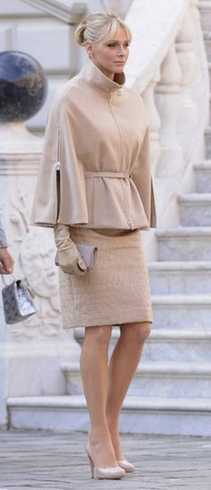 Nude head to toe. Love the gloves with the cape.