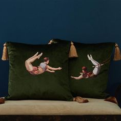 Trapeze Boy Velvet Cushion Lush Meadow Green - Courthouse Interiors