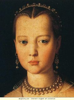 Agnolo Bronzino - Portrait of Maria de' Medici (detail),1551 - Tempera on panel - Galleria degli Uffizi, Florence, Italy.