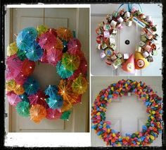 Niet alleen ballonnen, maar ook andere versieringen horen bij een feestje. Dit zijn leuke versierde kransen voor bv. een kinderfeestje. Je maakt ze eigenlijk op dezelfde manier als dat je een kerstkrans maakt.