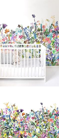 """""""Vintage Floral Wallpaper Wall Mural, Unprepasted Non-woven Fabric Each Roll is Inches Wide by 11 Yard Long, Covering 57 Square ft. Girl Nursery, Girl Room, Girls Bedroom, Trendy Bedroom, White Bedroom, Baby Room, Kid Bedrooms, Child Room, Nursery Room"""