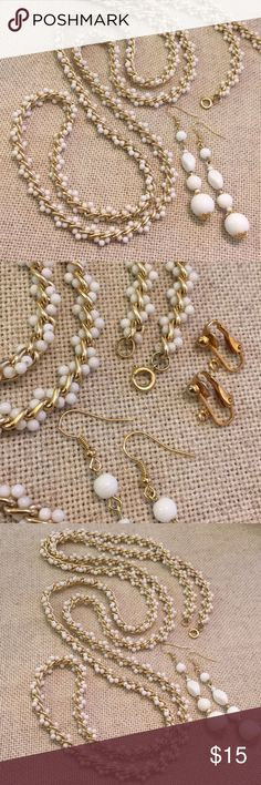 """Vintage White Beads Twisted in Gold Chain Earring Selling necklace and earrings together. Pretty necklace. Uniquely vintage. Not going to find anything like this made today. Tiny white Acrylic Beads woven between a light gold colored chain. Including earrings with necklace. Earrings were, Clip. I've converted to pierced. Will include original clip pieces. Earrings made of glass ceramic and acrylic beads. Necklace 56.5"""" long Vintage Jewelry Necklaces"""