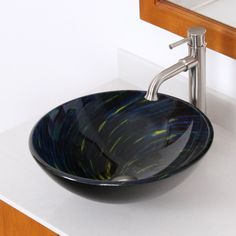 Whirlpool Meteor Shower Hand Painted Bowl Vessel Bathroom Sink | Wayfair