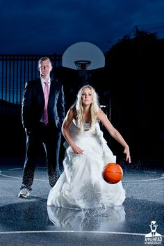 """A fearless bridal session, similar to """"trash the dress"""" are for those brides who want to shoot something more unique than the typical bridal photos. Basketball Wedding, Sports Wedding, Wedding Dj, Wedding Attire, Wedding Couples, Basketball Couples, Wedding Dresses, Basketball Stuff, Basketball Pictures"""