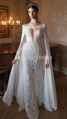 vestido de noiva sereia 2015 New Vintage Lace Beaded Floor Length Mermaid Long Sleeve Berta Bridal Wedding Dress With Wrap