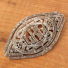 Vintage-Deco-Sterling-Silver-Mono-LKL-Marcasite-Brooch-2-5-Signed-HR-15-4g/$40