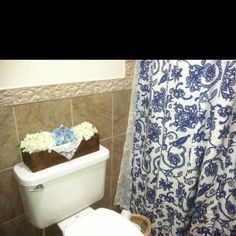 Old dresser drawer with hydrangea and handkerchief for bathroom decor