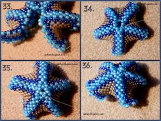 How to make a beaded star - photo tute Bead Loom Patterns, Jewelry Patterns, Beading Patterns, Jewelry Ideas, Beaded Starfish, Starfish Earrings, Free Beading Tutorials, Beading Ideas, Beaded Animals