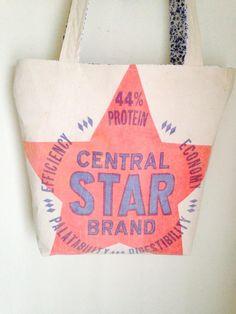 Vintage Central Star feed sack Plain & Simple Tote - www.ginnymae.etsy.com