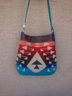 Tribal Turquoise Blue Leather Cross Body by DiamondArrowLeathers, $245.00