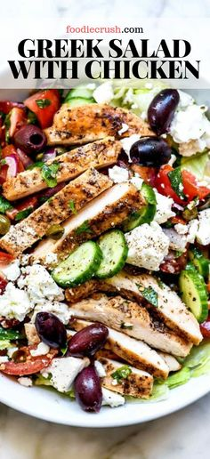 Greek Salad with Chicken | foodiecrush.com #salad #greek #chicken #mediterranean Crisp, crunchy, and fresh with tangy Mediterranean flavor, this Greek salad topped with chicken can be meal prepped ahead for weekday lunches or a light and healthy dinner too.