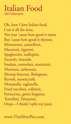 We make it up as we go and we never use measuring cups italian food poem we did this in creative dramatics in eighth grade the people forumfinder Gallery