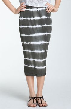 tie-dyed midi skirt