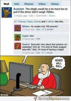 Reindeer Rudolph is complaining on facebook about Santa. Epic hilarious facebook status.