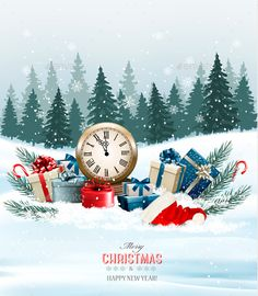 Holiday Background with Presents and Clock
