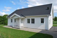 Svart tak vitt hus