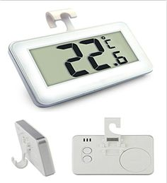 Mini Digital Refrigerator  Freezer Thermometer include Magnet and HookCOUTUDI Handy Gadget for Fridge Room With Large LCD  Frost Alert