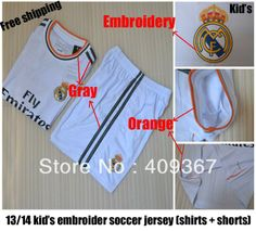 134c0f359 Hot! real madrid kids   boy white soccer jerseys(shirts+shorts) 13-14