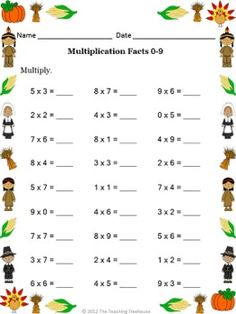 This multiplication packet contains 12 Thanksgiving themed worksheets with answer keys included. Math Multiplication Worksheets, Math Practice Worksheets, All About Me Preschool, Math Charts, Math School, Basic Math, 3rd Grade Math, Teaching Math, Math Lessons