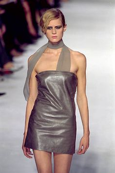 Costume National | Spring 2000 Ready-to-Wear | 22 Purple leather strapless mini dress