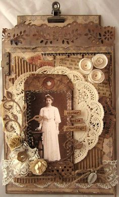example of a lot of textures and items used together ((original post)) Sister ~ This gorgeous altered art clipboard with lace embellishments, doily matting and dimensional flowers could be easily adapted to a heritage page. Vintage Collage, Vintage Scrapbook, Couple Scrapbook, Mixed Media Collage, Collage Art, Collages, Clipboard Art, Molduras Vintage, Heritage Scrapbook Pages