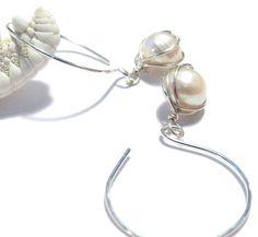 Cream Ivory Hoop Earrings Sterling Silver Delicate by TraceDesigns