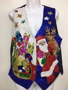 Ugly Christmas Vest Womens L Sequins Santa Claus Sleigh Gifts Fashion Fantasy #FashionFantasy #Christmas
