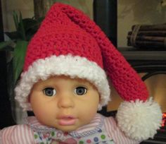 Crochet Christmas Santa Hat 03 months by fun2make on Etsy, $14.95