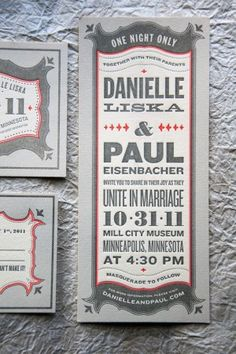 Amie and Keith want a ticket theme that has a western look. This example would be perfect for their wedding collateral.