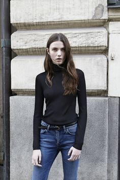 Ellen S in Trento Turtleneck and Totême straight denim (coming soon) #goseesSTHLM