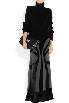 Alberta Ferretti|Velvet and chiffon maxi skirt. Shown here with: Sophia Kokosalaki earrings, Maison Martin Margiela top, Alexander McQueen boots, Emilio Pucci bag.