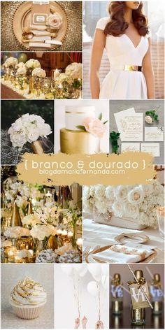 Wedding Inspiration Board gold and white   Paleta de Cores Casamento Branco e Dourado   Decoração de Casamento Branco e Dourado