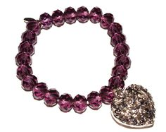Fiorelli Purple Beaded & Silver Heart Filigree Bracelet - A stretch bracelet with purple beads and silver heart. Would make an ideal gift. Jewellery pouch & box included. Bracelet circumference before wearing 21cm