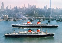 Still great to take a sail around Manhattan Island. The ocean liners S.S. United States and the S.S. America pass each other on the Hudson River; April 7, 1963. The SS United States was the fastest ocean liner of all time and still holds the trans-Atlantic record for regular service ships.