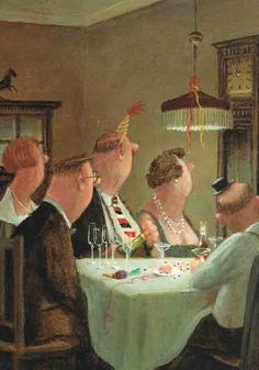 Glück, Gerhard Five to Midnight (New Year's Card) Michael Sowa, Postcard Art, Humor Grafico, Dutch Artists, Whimsical Art, Pictures To Paint, Book Illustration, Collages, Illustrators