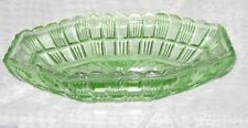 Green depression glass eight sided serving dish by Crown Crystal Australia