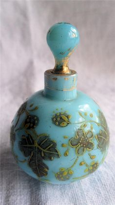 ANTIQUE MOSER BLUE OPALINE ENAMEL  GILT SCENT/PERFUME BOTTLE C1880