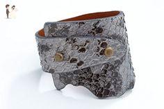 Genuine Anaconda Wide-Wrap Luxury Bracelet in Gray - Exotic Leather - Wedding bracelets (*Amazon Partner-Link)