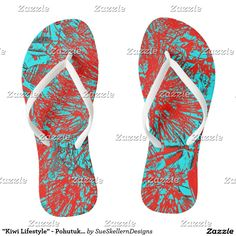 """Shop """"Kiwi Lifestyle"""" - Pohutukawa NZ Bloom Huee Jandals created by SueSkellernDesigns. Favorite Person, Your Favorite, Wood Wall Art, Kiwi, New Product, Wrapped Canvas, Wall Decals, Photo Art, Bloom"""