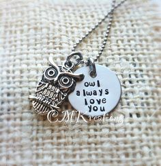 Owl always love you hand stamped necklace by CMKreations on Etsy, $18.00