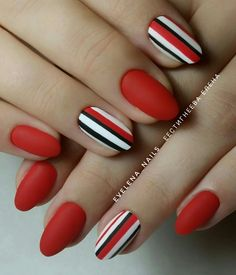 Ready to upgrade your go-to red nails? You're in the right place because we're sharing 50 gorgeous red nail designs for epic nail style. Oval Nails, Red Nails, Hair And Nails, Perfect Nails, Gorgeous Nails, Cute Nails, Pretty Nails, Long Round Nails, Nail Manicure