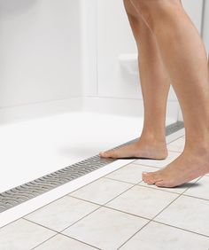The maker& showering line has expanded with a new line of universal design zero-threshold shower bases. Ada Bathroom, Handicap Bathroom, Master Bathroom, Bathroom Ideas, Bathroom Designs, Bathroom Mirrors, Bathroom Layout, Small Bathrooms, Dream Bathrooms