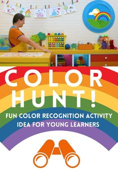 This is a wonderful episode to learn and practice color vocabulary, practice identifying colors, as well as exploring what happens when we mix colors together! We go on color hunts in the classroom, on a field trip to the park, and in the discovery bin! We make a beautiful rainbow using only primary colors in a color mixing challenge, and sing one of our favorite songs about colors. Preschool Classroom, Preschool Art, Preschool Learning, Toddler Preschool, Color Activities, Craft Activities For Kids, Color Songs, Vocabulary Practice, Rainbow Crafts