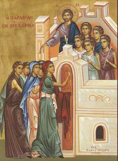 Eastern orthodox icon of the Parable of the 10 Virgins. Commemorated on Holy Tuesday. Religious Icons, Religious Art, Holy Tuesday, Holy Week, Miracles Of Jesus, Life Of Christ, Byzantine Icons, Orthodox Christianity, Orthodox Icons