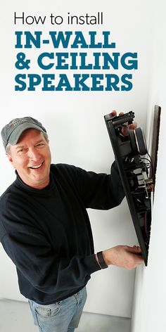 Video: How to install in-wall and ceiling speakers Our expert walks you through a typical install Home Theater Furniture, Home Theater Setup, Home Theater Speakers, Home Theater Rooms, Home Theater Seating, Home Theater Design, Home Theater Projectors, Movie Theater, Unfinished Basement Storage