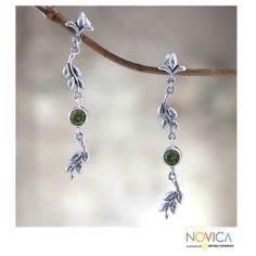 Sterling Silver 'A New Leaf' Peridot Earrings (Indonesia) | Overstock.com Shopping - Great Deals on Novica Earrings